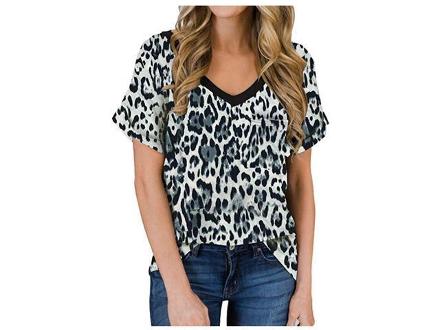 Womens Casual Loose Short Sleeve Leopard Print T-Shirt Tops
