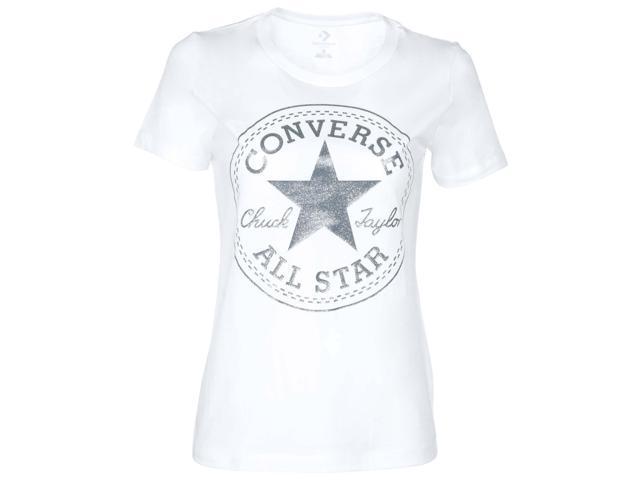 c073fd6a9b24 Converse Women s Glitter Chuck Taylor Core Patch T-Shirt-White-2XL ...