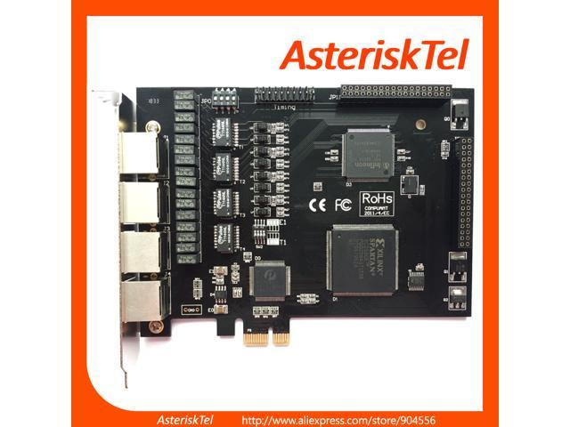 TE420 Quad Span T1 Card E1 Card,ISDN SS7 PRI card with 4 Ports,PCI Express  (PCI-E) Connector te420e,te220,te110p,supports digium asterisk sangoma