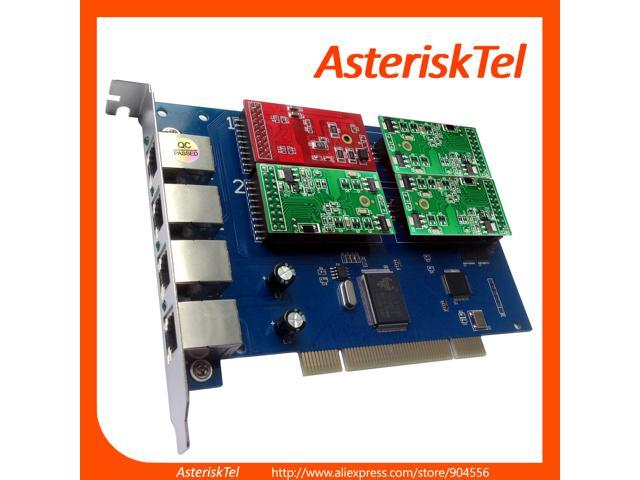 Asterisk Card TDM410P with 1 FXO+3 FXS Modules,Supports Asterisk Issabel  AsteriskNow FreePbx FXS FXO Card TDM410 TDM400P Supports Driver of digium  PCI