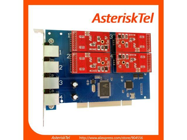 TDM410P Asterisk Card with 4 FXO Modules,Supports Asterisk Issabel FreePbx  Supports Driver of digium Card FXO TDM410 TDM400P For VoIP Phone PBX