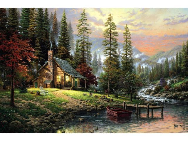 printed thomas kinkade landscape oil painting prints on canvas wall ...