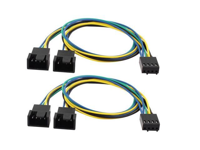 5Pcs PWM Connector Extension Power Cable Black For Computer Case Fan 4Pin TDO