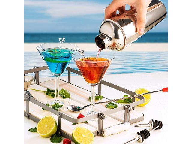FineDine Expert Cocktail Shaker Home Bar Tool Set Stainless Steel Bar Set wit...