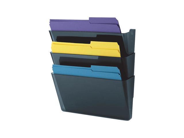 730523 10681 Staples 3-Pocket Plastic Wall File Smoke Blue