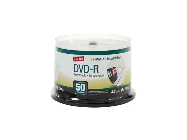 graphic about Printable Dvd-r identify Staples 4.7GB 16X Inkjet Printable DVD-R Spindle 50/Pack (50599) 2398228 -