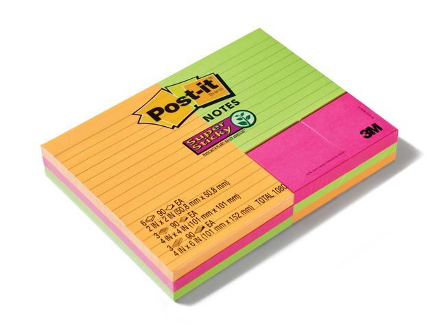 Unlined 4 Bright Colors Post-it Super Sticky Notes 6 in x 4 in 2x the Sticking Power