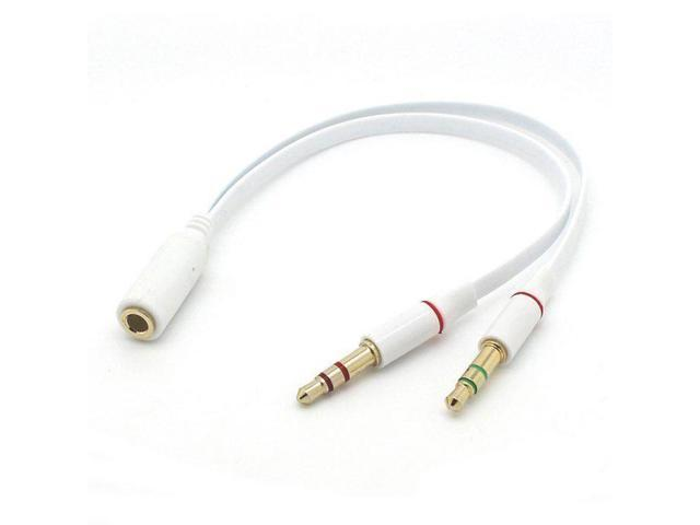 Single 3.5mm Female 4-conductor (TRRS) Jack to Dual 3.5mm Male 3-conductor  (TRS) Plug Microphone + Stereo Audio Headphone Headset Splitter Cable for  PC / Old-Laptop White - Newegg.comNewegg.com
