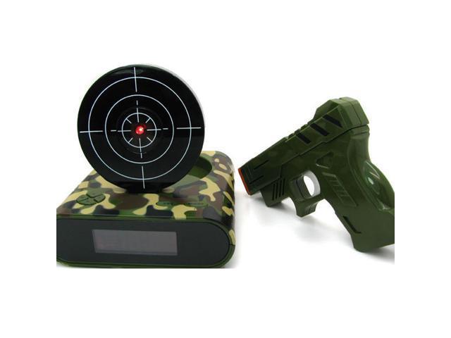 camouflage Home Decor Collection Here Novelty Lcd Screen Laser Gun Target Shooting Digital Alarm Clock Wall Clocks