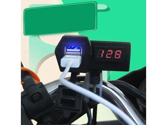 Foxnovo Motorcycle USB Charger with LED Digital Display Voltmeter Voltage Meter / Switch (Black)