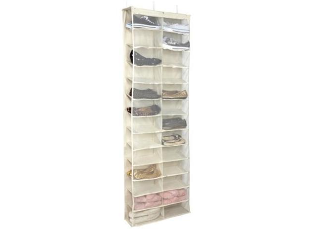 Foxnovo 26 Large Pocket Over The Door Hanger Shoes Organizer Closet Shelves Rack Hanging Storage Space Saverwhite Neweggcom