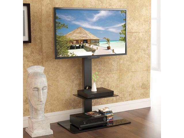 Fitueyes Tv Stand With Swivel Mount Component Shelf For 32 65 Inch