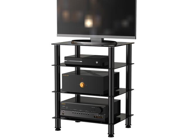 Fitueyes TV Mount Stand Glass Shelves Storage For AV Components Console  Speakers