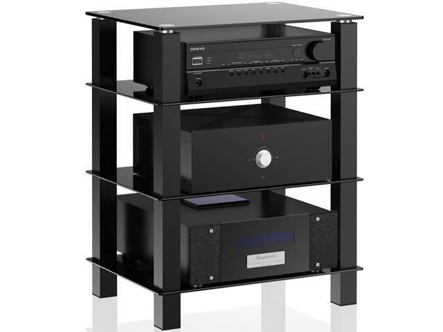 Bon FITUEYES TV Media Stand Glass Shelves Storage For AV Components Console  Speakers Black
