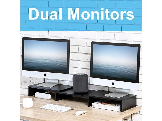 FITUEYES 3 Shelf Computer Monitor Riser Desktop Laptop Stand Length Angle Adjustable Speaker PC Stand with Storage Hole DT111101WB