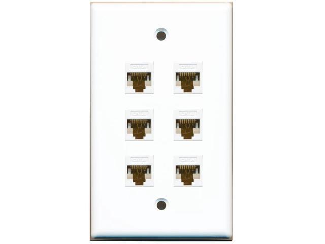 RiteAV 6 Port Cat6 Ethernet RJ45 Female-Female Wall Plate White ...