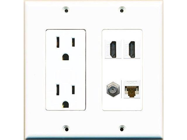 RiteAV Power Outlet 2 HDMI White Coax Cat6 Wall Plate White - Newegg.com