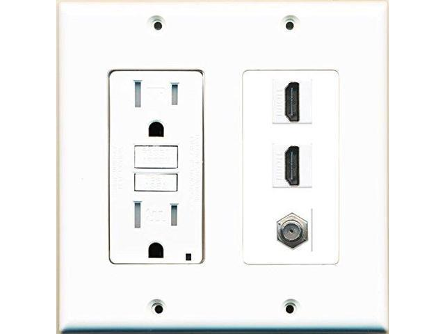 riteav gfci 125v 15a power outlet and 2 hdmi white coax