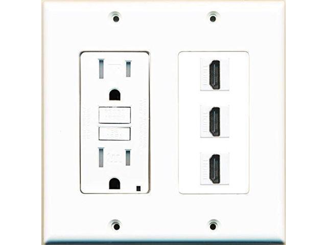 riteav gfci power outlet and 3 hdmi white wall plate white