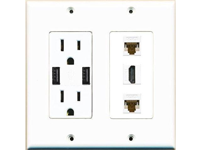 RiteAV Power Outlet 2 USB Charger HDMI White 2 Cat6 Wall Plate White ...