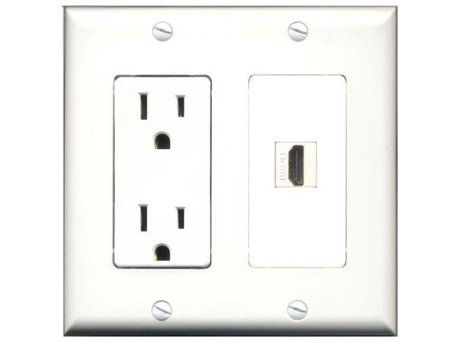 riteav 15 power outlet and 1 port hdmi decora type wall plate Wall Plates HDMI Outlets riteav 15 power outlet and 1 port hdmi decora type wall plate white