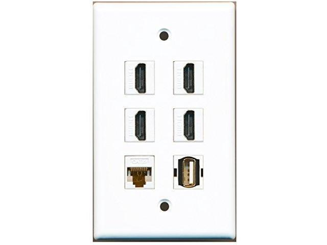 1 Port HDMI and 1 Port USB A-A and 1 Port Cat6 Ethernet Black Wall Plate RiteAV