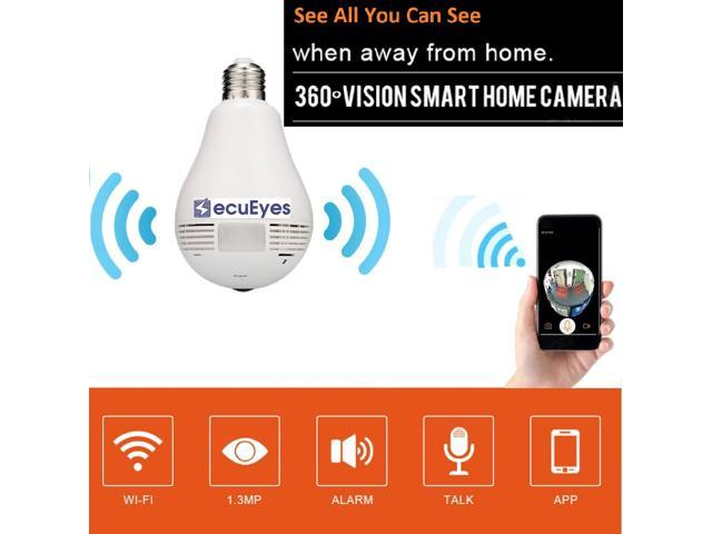 SecuEyes LED Bulb Camera 360 Degree FishEye Security Panoramic Camera Home  Security System For IOS/Android - Newegg com