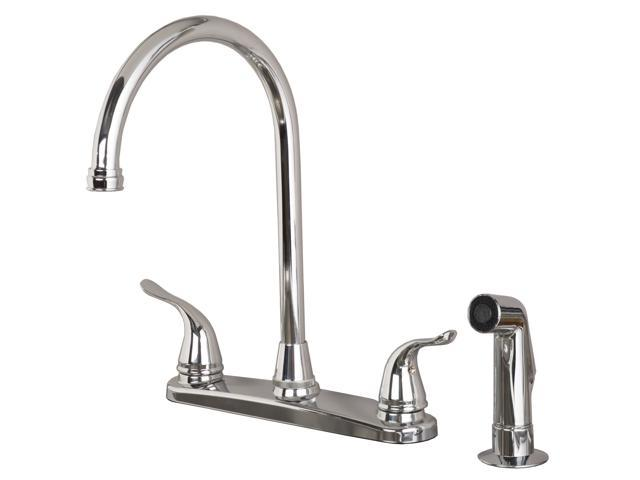 Builders Shoppe 1210CP Two Handle High Arc Kitchen Faucet with Spray,  Chrome Finish - Newegg com