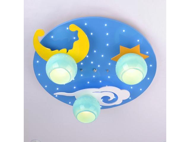 Cartoon Blue Star Moon Children\'s Bedroom Ceiling Fixtures Safety Baby Room  Ceiling Lamp Boy Girl Room Ceiling Light