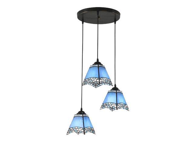 3 Lights Blue Tiffany Restaurant Pendant Lamp Mediterranean Bar Pendant Lights Kitchen Pendant Light Newegg Com