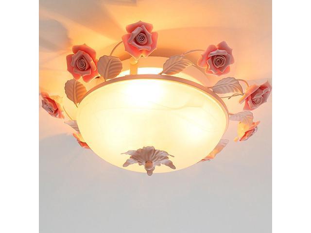 Oovov Pink Rose Flowers Ceiling Lamps Princess Room Girls Room Bedroom Ceiling Light Fixtures Iron Glass Ceramics Newegg Com