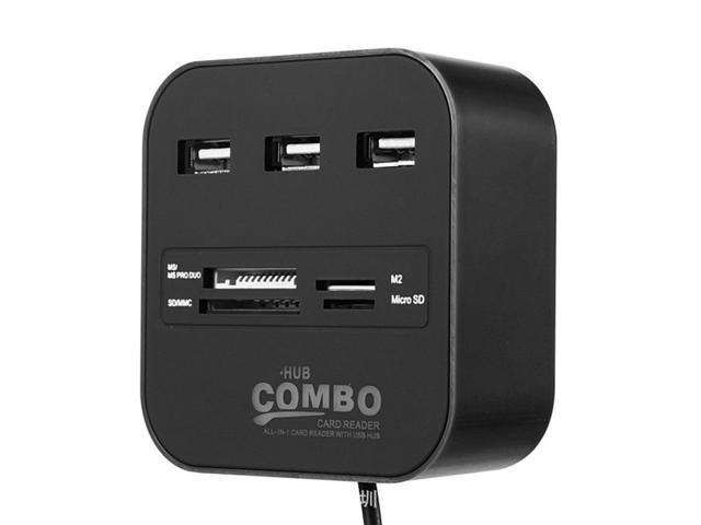 USB Hub Combo 3 Ports High Speed USB 2.0 Hub Splitter With MS/Pro Duo, M2, SD/MMC, Micro SD Card Reader -Black