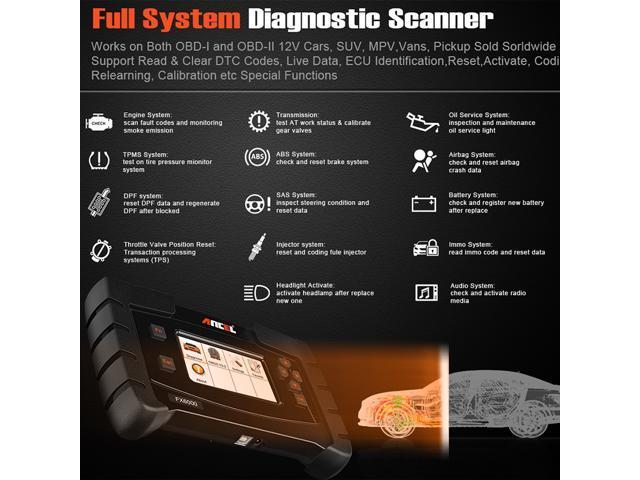 Ancel FX6000 OBD2 Scanner Transmission Airbag ABS SRS SAS EPB DPF Oil Reset  IMMO Check Engine Light Code Reader Full System OBD II Diagnostic Scan