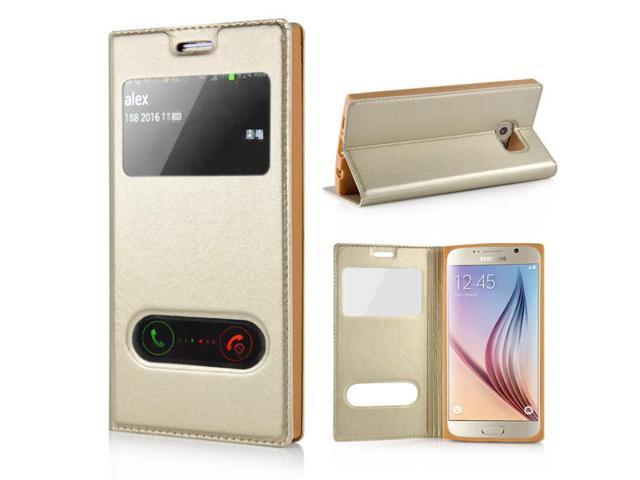 Funky Magnet Inlaid Dual Window View Design Flip Leather Case with Stand  Holder for Samsung Galaxy S6 G920 - Gold - Newegg com