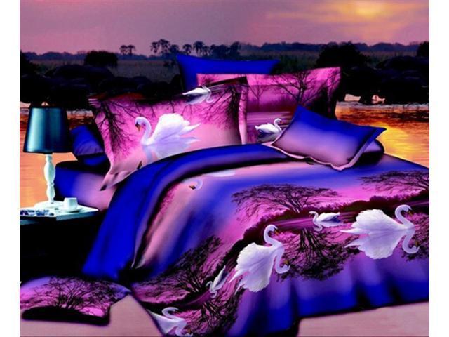 3D Flower Bed Quilt//Duvet Sheet Cover 4PC Set Cotton Sanded 010