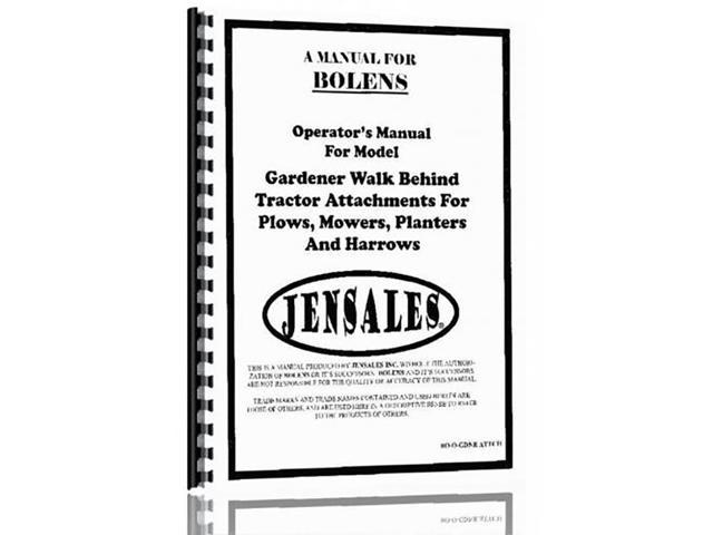 New Bolens GARDENER WALK BEHIND Operator and Parts Manual - Newegg com