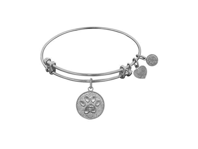 Angelica White Rhodium Over Br Dog Paw Print Bangle Charm Bracelet 7 25 Inches Adjule Newegg