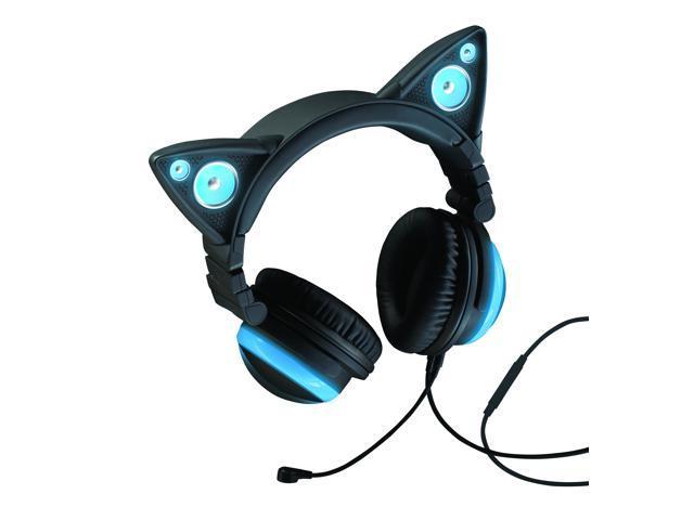 Brookstone Wired Cat Ear Headphones - Black/Blue - Newegg.com