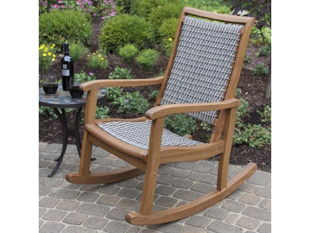 Wondrous Resin Wicker Eucalyptus Outdoor Rocking Chair Newegg Com Inzonedesignstudio Interior Chair Design Inzonedesignstudiocom