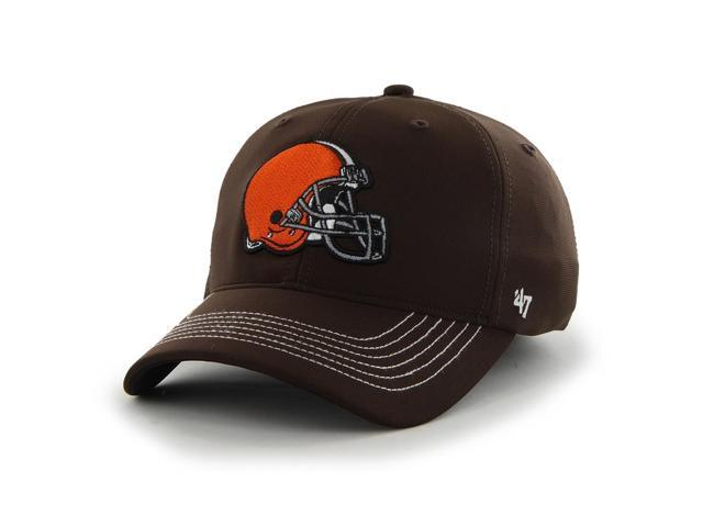 e800b259ea496 Cleveland Browns 47 Brand Brown Game Time Closer Performance Flexfit Hat Cap