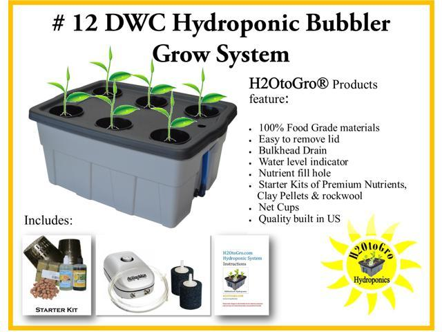 Hydroponic DWC Bubbler Complete Grow System # 12 H2OtoGro® ~ Grow herbs,  flowers, fruits and vegetables all year round! - Newegg com