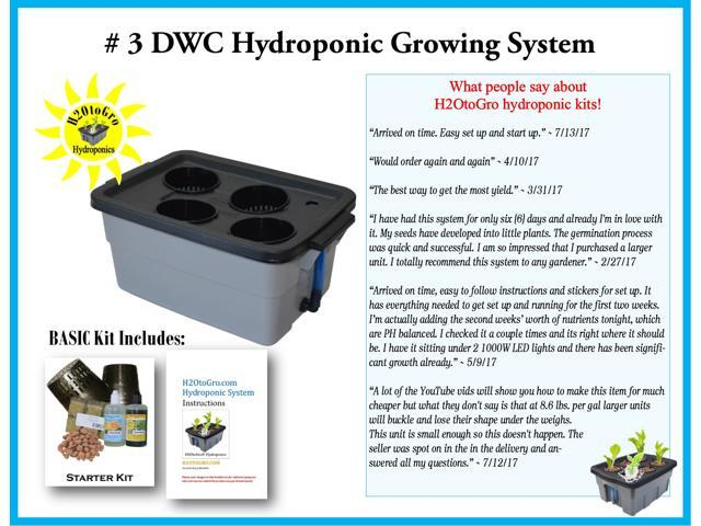 Hydroponic DWC Bubbler Complete Grow System Kit # 3 H2OtoGro® ~ Grow herbs,  flowers, fruits and vegetables all year round! - Newegg com
