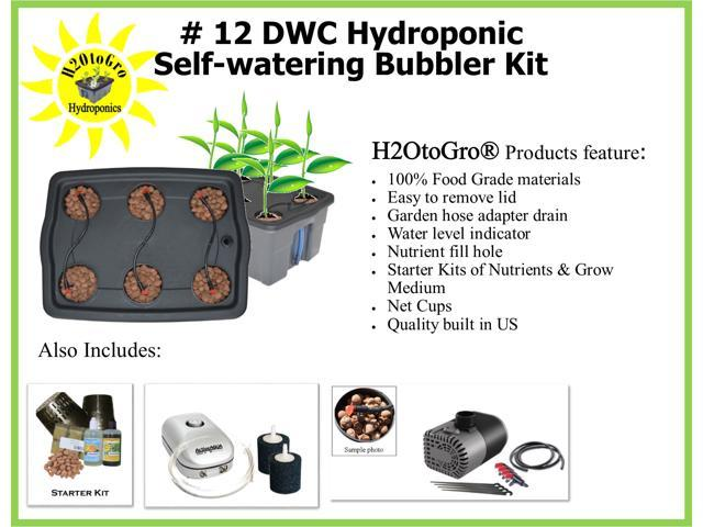 Hydroponic DWC Self-watering Bubbler Complete Grow System Kit # 12  H2OtoGro® ~ Grow herbs, flowers, fruits and vegetables all year round! -  Newegg com