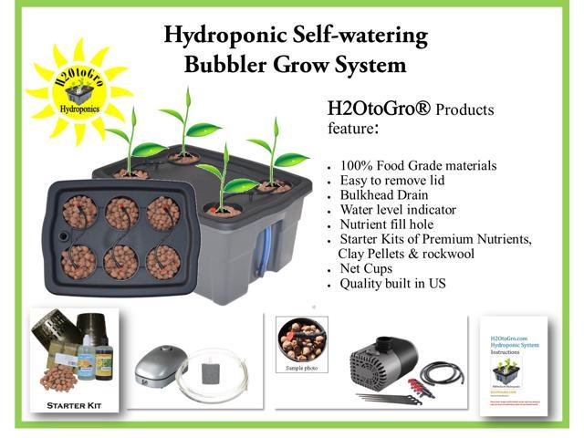 Hydroponic DWC Self-watering Bubbler Complete Grow System Kit # 4 H2OtoGro®  ~ Grow herbs, flowers, fruits and vegetables all year round! - Newegg com