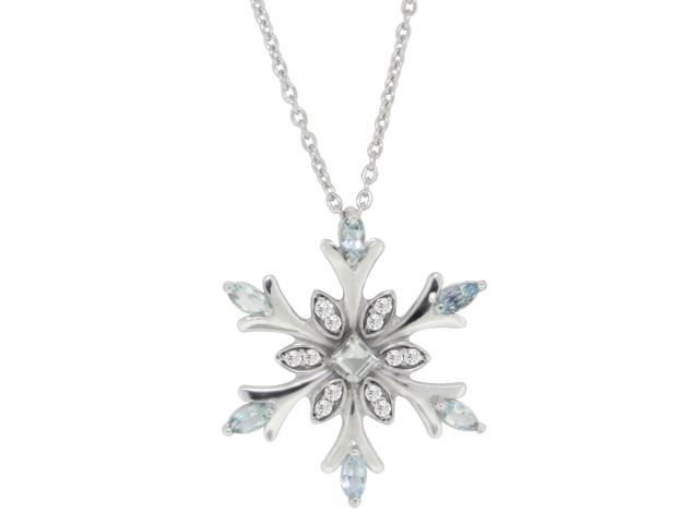 8997474a0396d Genuine Aquamarine and Swarovski Crystal Snowflake Pendant Necklace,  Sterling Silver - Newegg.com