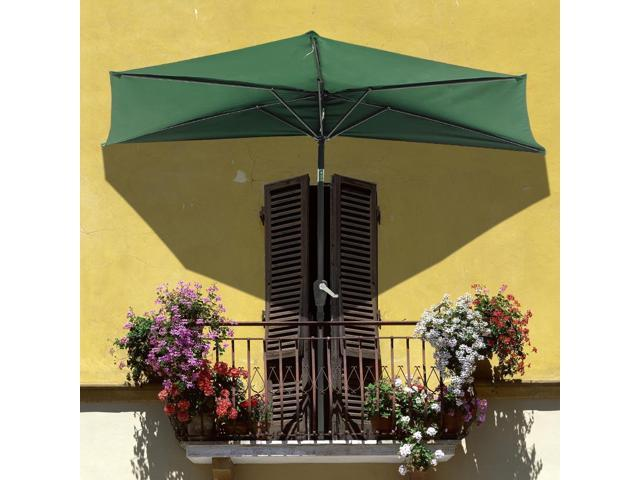 9u0027 HALF Patio Aluminum Umbrella For Wall Window Outdoor Shading