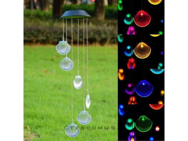 Solar Led Color Changing Wind Chime 6 Shell Home Yard Valentine Decorative Light
