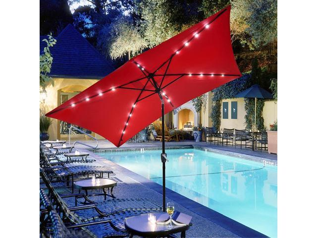 Merveilleux 10x6.5u0027 Ft Patio Umbrella W/ Solar Powered LED Light Tilt Garden Market