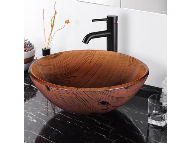 Round Vessel Sink Wood Grain Pattern