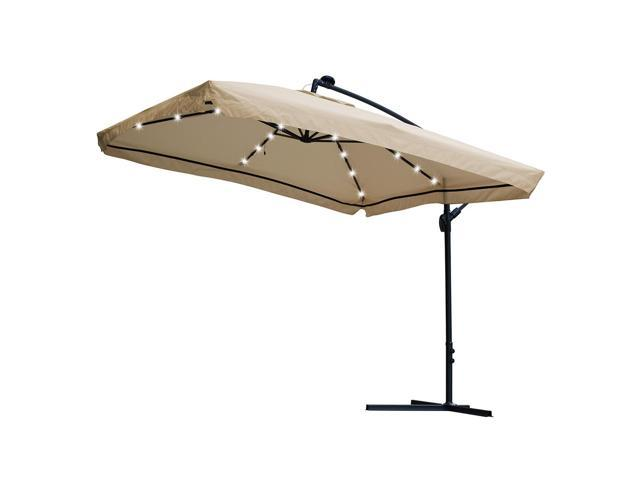 40 LED Warm White Solar Light Fit 8-Rib 8ft 9ft Wooden Outdoor Patio Umbrella